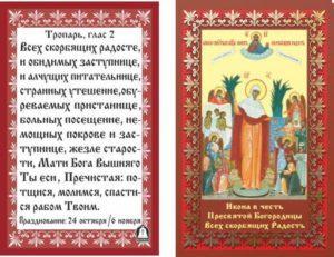 Молитва Божьей Матери Всех скорбящих радость, текст